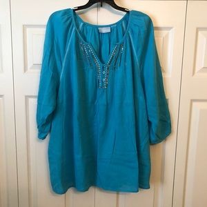 Women's Plus Blue Embellished Top